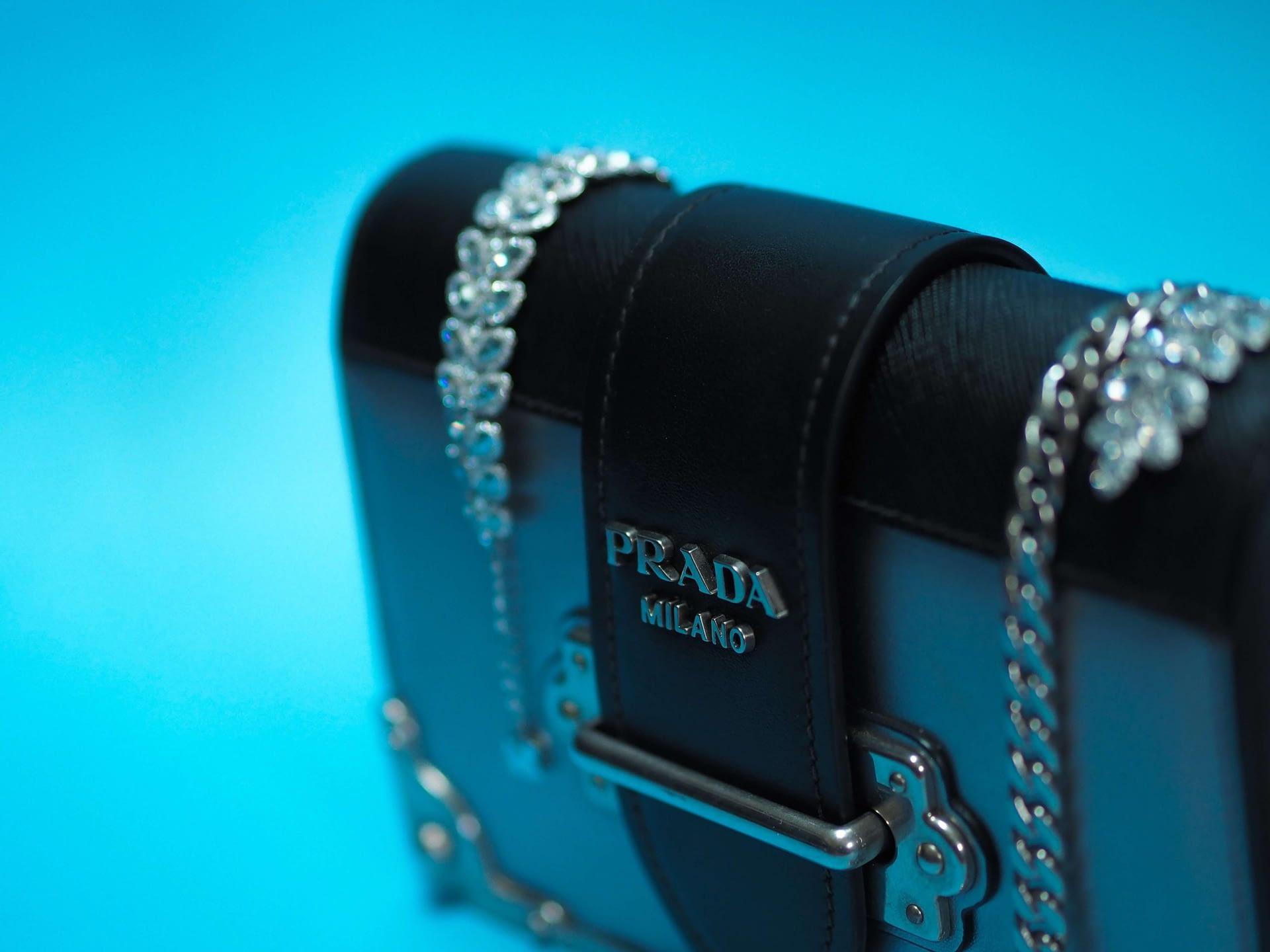 Prada black patent leather flap bag